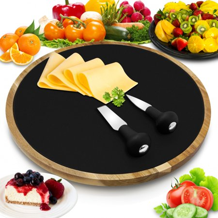 NutriChef PKCZBD40 - Lazy Susan Cheese Board Tray - Rotating Food Presentation Serving Platter -