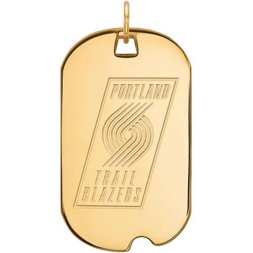 LogoArt NBA Portland Trail Blazers 10kt Yellow Gold Large Dog Tag