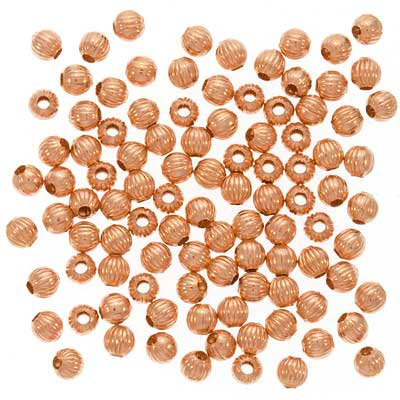 Real Copper Fluted Round Metal Beads 4mm (100)