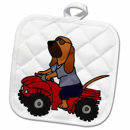 - 3dRose Funny Bloodhound Redneck Dog Riding Red ATV - Pot Holder, 8 by 8-inch