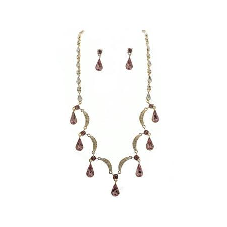 Silver Light Amethyst Scallop Y Drop Crystal Bridesmaid Bridal Necklace Earring Set