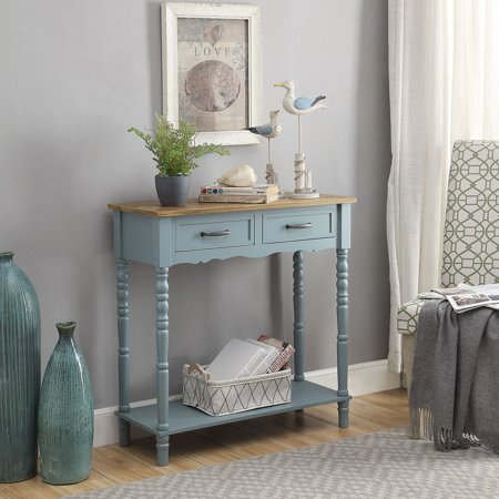 Natural Console Table - Cornwell 2-drawer Turned Leg Console Table, Natural and Blue
