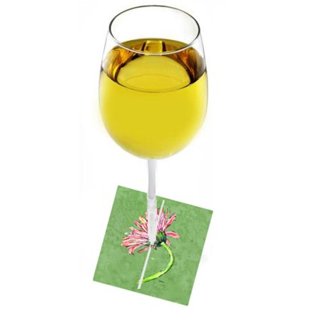 Carolines Treasures 8853WM Gerber Daisy Pink Fabric Wine Marker