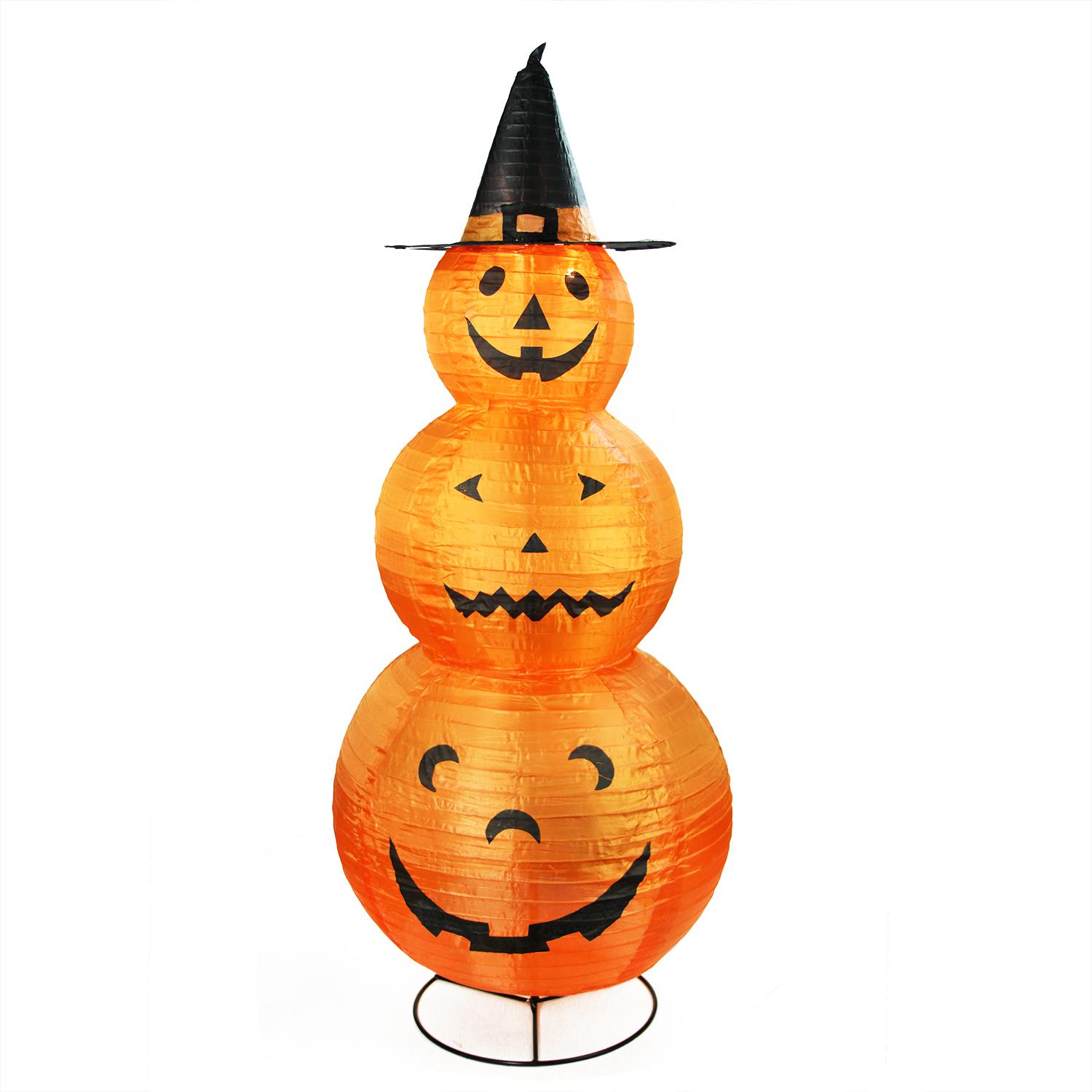 "48"" Pre-Lit Orange and Black Pumpkins with Witch Hat Halloween Outdoor Decoration"