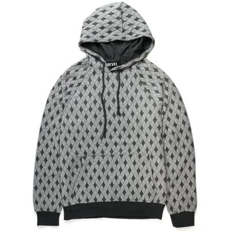 Grey Hoodie Hoody Po Lattice Texture Fleece 5015-P122