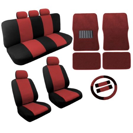 Dual Color Red Black Two Tone Car Seat Covers Floor Mats Set 18Pc Racing Stripe For Honda Civic