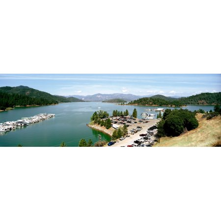 High angle view of a lake surrounded by mountains Shasta Lake California USA Poster Print