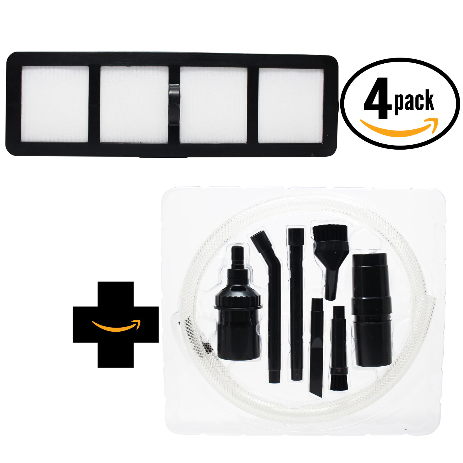 4-Pack Replacement Eureka AS1002 Vacuum HEPA Filter with 7-Piece Micro Vacuum Attachment Kit - Compatible Eureka EF-6 HEPA Filter