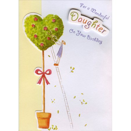 Designer Greetings Die Cut Tree with Gold Foil and Tip On Banner Handmade: Daughter Birthday -