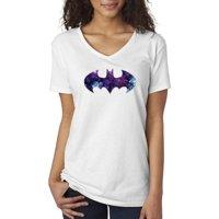 New Way 631 - Women's V-Neck T-Shirt Batman Dark Knight Galaxy Logo Parody