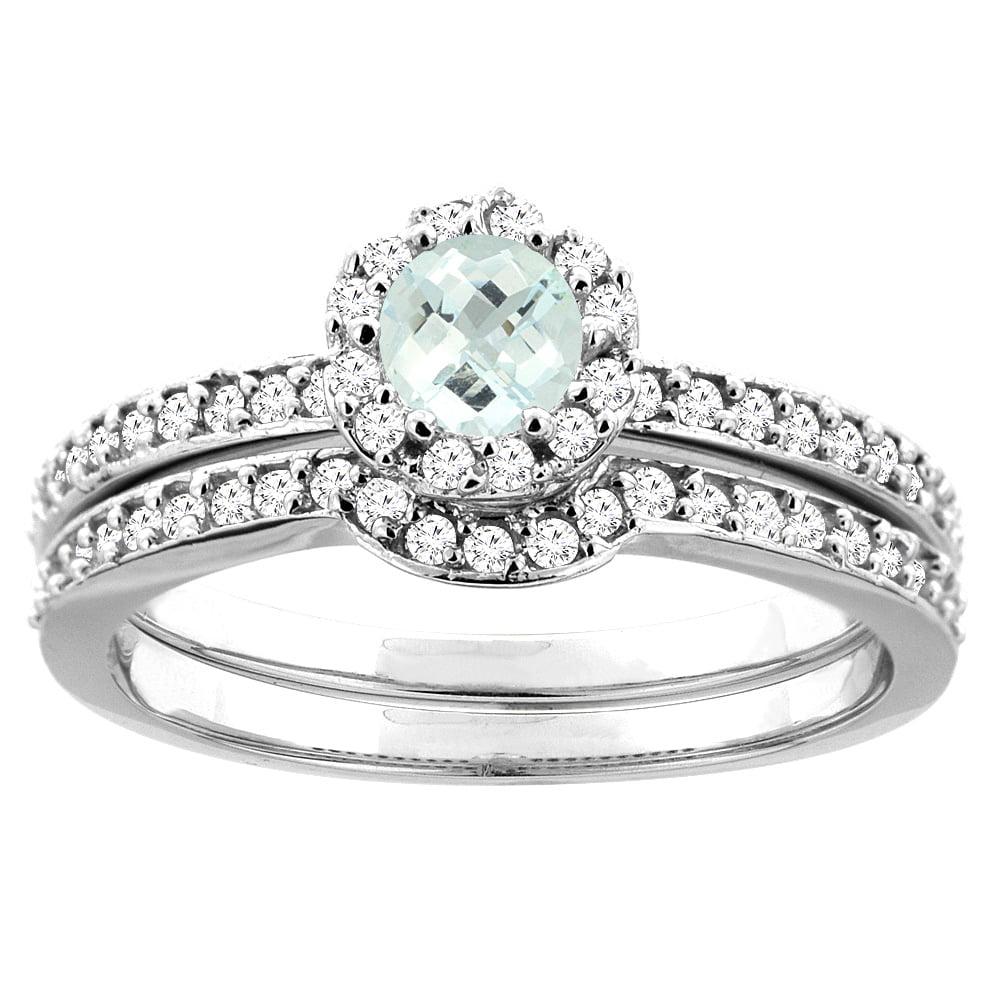 10K White Gold Natural Aquamarine 2-pc Bridal Ring Set Diamond Accent Round 4mm, sizes 5 10 by WorldJewels