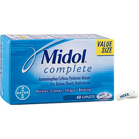 Midol Complete, Menstrual Period Symptoms Relief Including Premenstrual Cramps, Pain, Headache, and Bloating, Caplets, 40