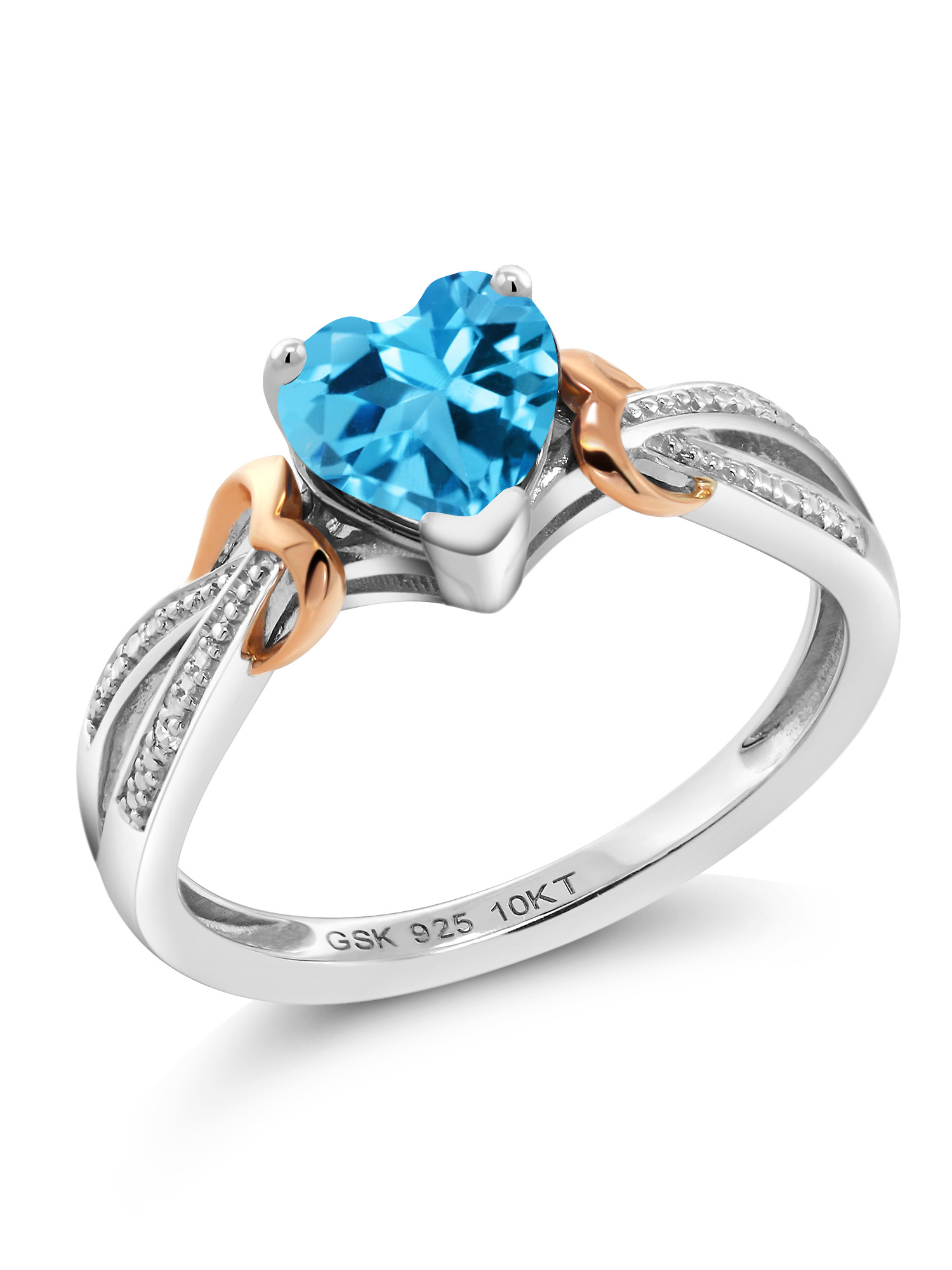 Gem Stone King 2.78 Ct Sky Blue Topaz Simulated Sapphire 18K Rose Gold Plated Silver Mens Ring Available 8,9,10,11,12,13 Available in,9,10,11,12,13