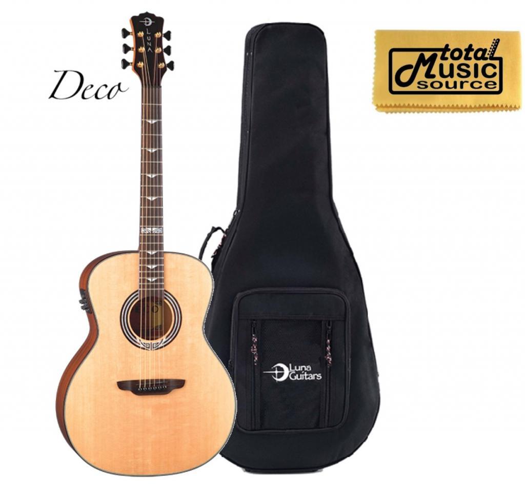 Luna  Art Deco Grand Auditorium A/E Guitar, Solid Spruce Top, ART DECO LLDG