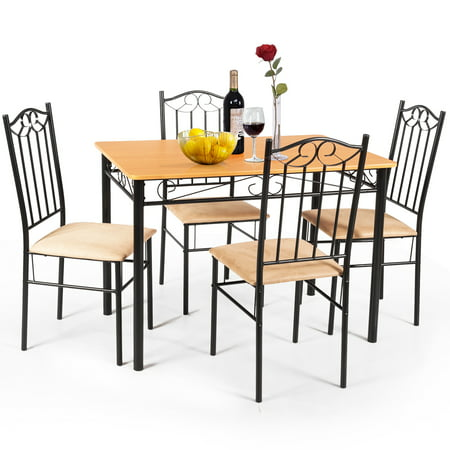 5 PC Dining Set Wood Metal Table and 4 Chairs Kitchen Breakfast Furniture New Kitchen Furniture Wood