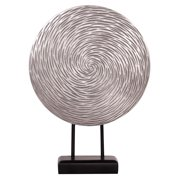 Howard Elliott Textured Silver Circle Sculpture