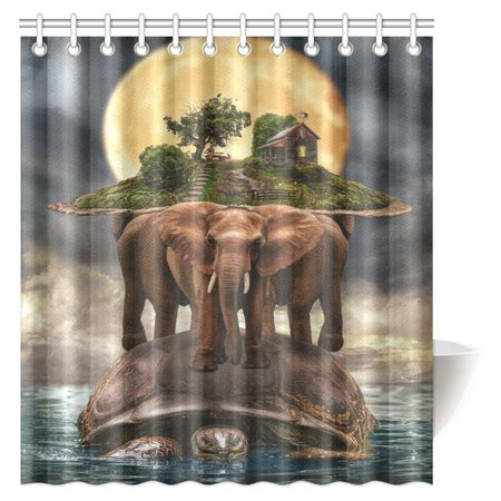 MYPOP Mythological Representation of the Planet Earth Shower Curtain, Turtle Carrying Elephants with the Earth on Their Backs Fabric Bathroom Set with Hooks, 66 X 72