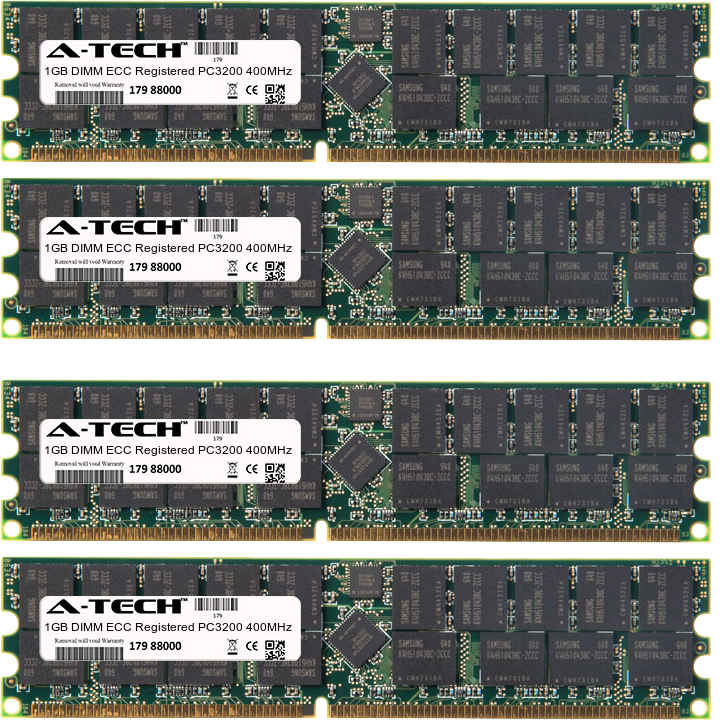 4GB Kit 4x 1GB Modules PC3200 400MHz ECC Registered DDR DIMM Server 184-pin Memory Ram