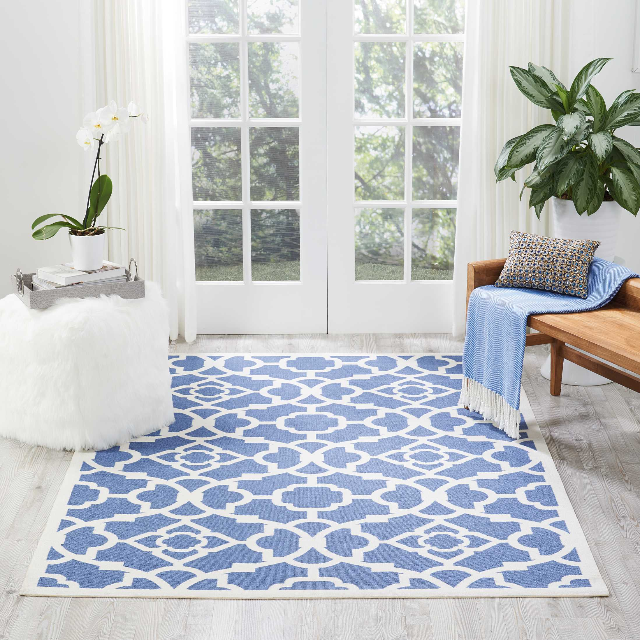 "Waverly Sun & Shade ""Lovely Lattice"" Lapis Indoor/Outdoor Area Rug by Nourison"