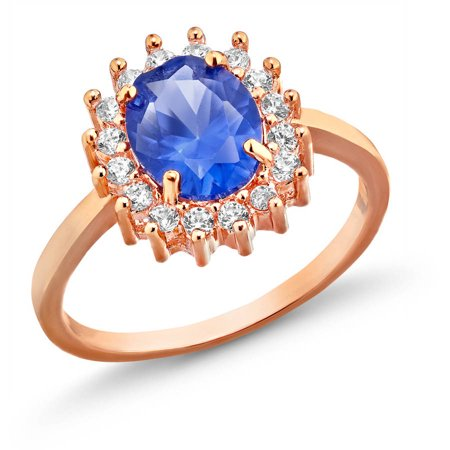 18kt. Rose Gold Plated Brass 10 x 8mm Spike Blue Spinel Oval CZ Ring