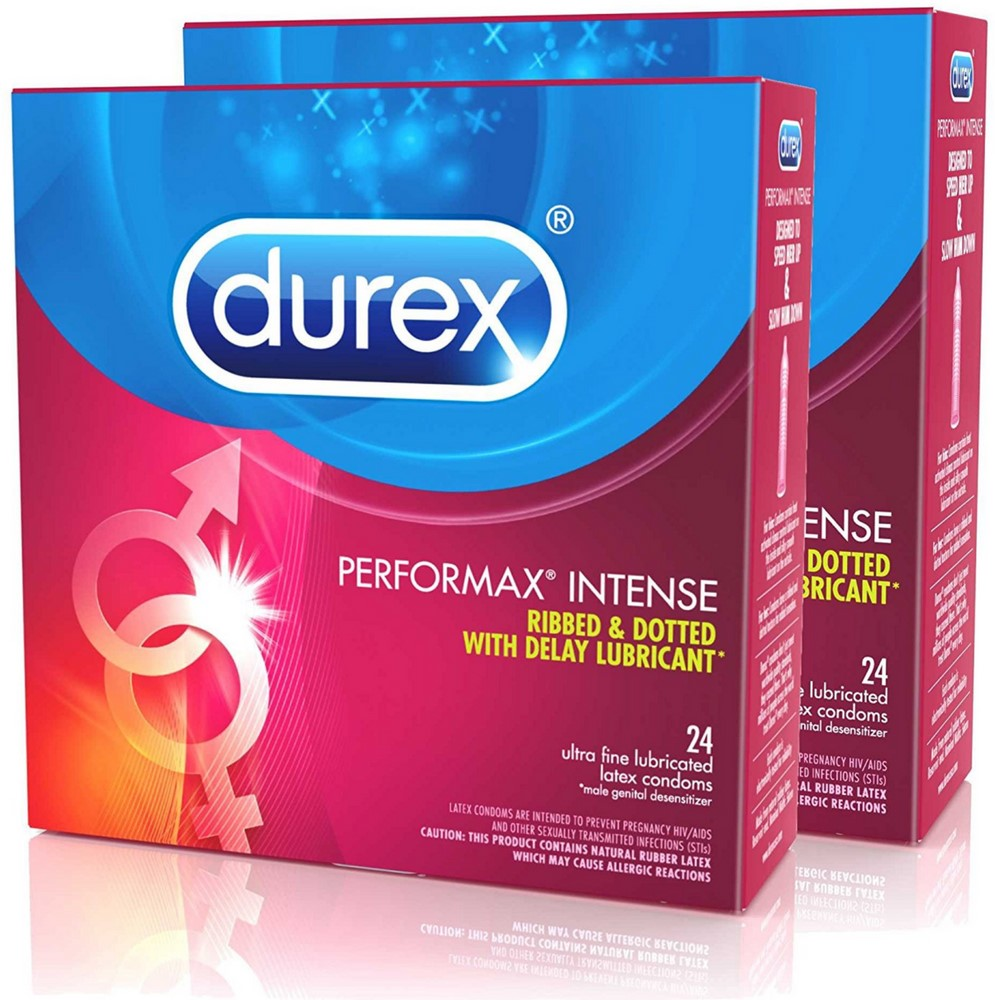 Durex Performax Intense Natural Latex Condoms, Ultra Fine, Ribbed, Dotted with Delay Lubricant, Twin Pack, 48 ea