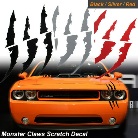 1x Die-Cut Monster Claws Scratch Headlight Decal Vinyl Sticker Halloween Décor Universal Fit[black]](Claw Kicker Halloween)