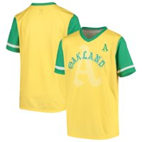 Oakland Athletics Youth Cooperstown Collection Play Hard V-Neck Jersey T-Shirt - Gold