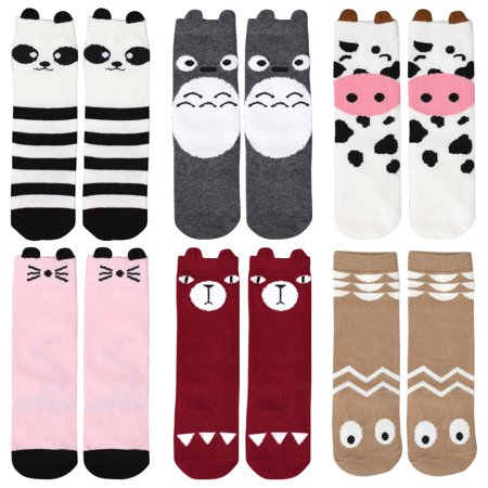 Bundle Monster 6 Pair Child Size Mixed Animal Design Knee High Style Tube Socks - Set 3: Cutie Creatures
