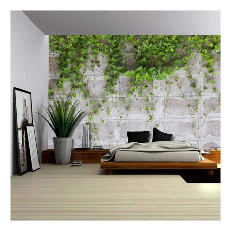 144 Mm To Inches (wall26 - Green Vines Wrapping on a Gray Brick Wall - Wall Mural, Removable Wallpaper, Home Decor - 100x144)