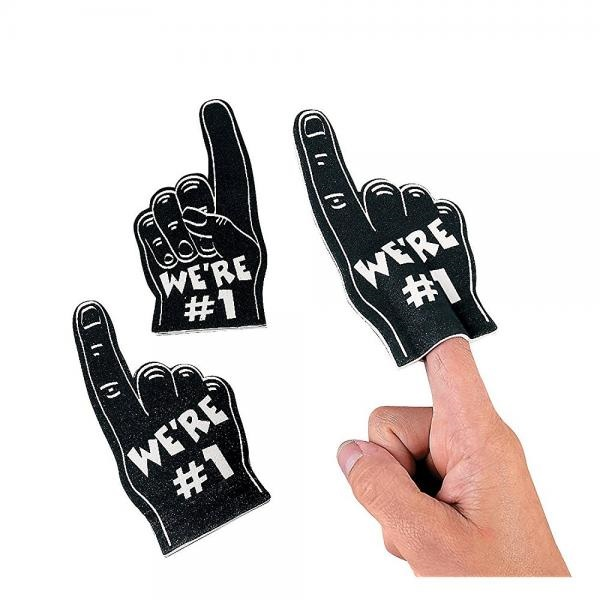 Team Spirit Mini Foam Fingers -Black 12 Pack Finger Puppets