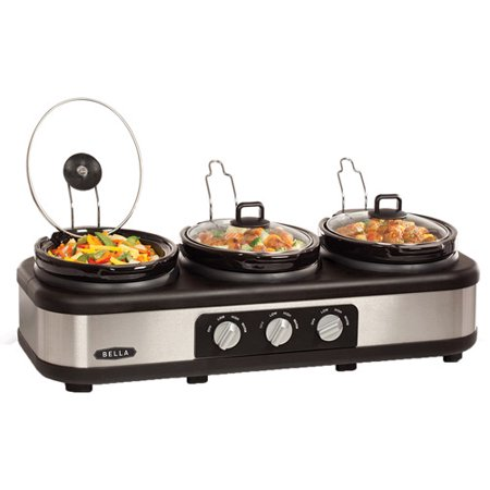 BELLA Stainless Steel Triple Slow Cooker and Buffet Server 3 x1 5 QT Manual