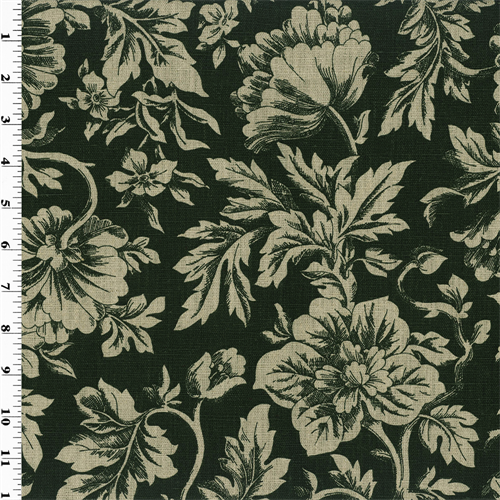Black Floral Print Vintage Linen Home Decorating Fabric, Fabric By the Yard
