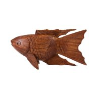 Wooden Hand Carved Koi Fish Statue Figurine Sculpture Art Home Decor Accent Handmade Handcrafted Seaside Tropical Nautical Ocean Coastal Decoration