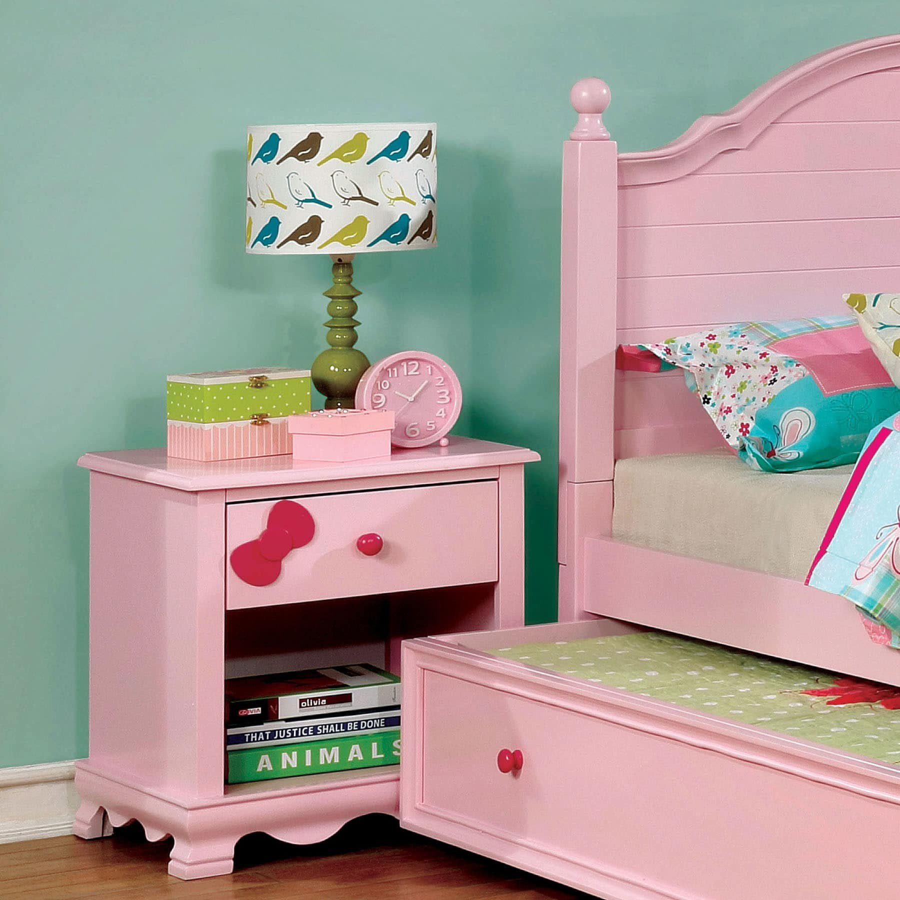 Furniture of America Matilda Transitional 1-drawer Youth Nightstand by FOA Pink