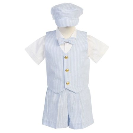 Boys Blue Vest Shorts Easter Ring Bearer Formal Suit 12M-4T (Ring Bearer Suit)