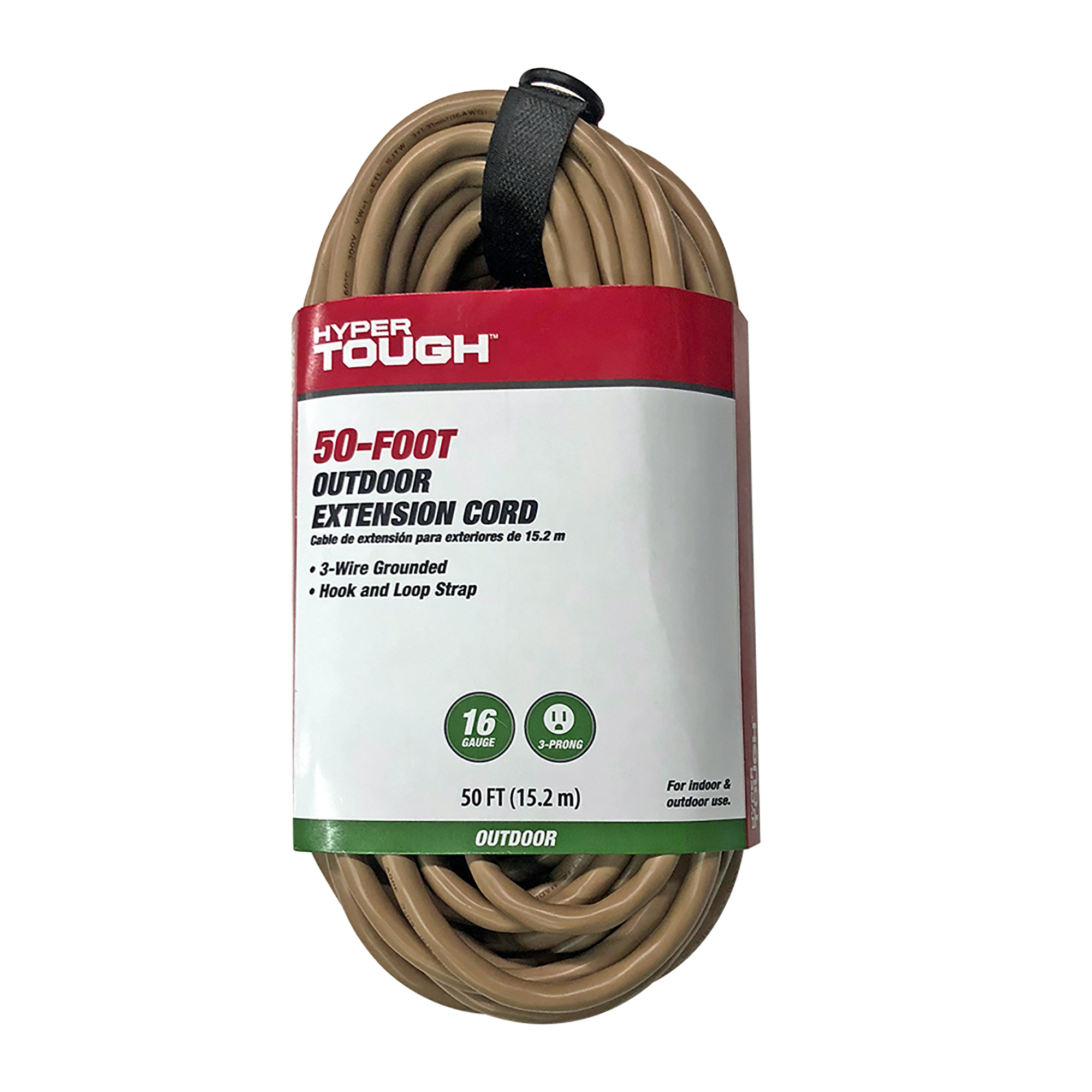 Hyper Tough 50ft SJTW 16/3 Tan Single Outlet Cord