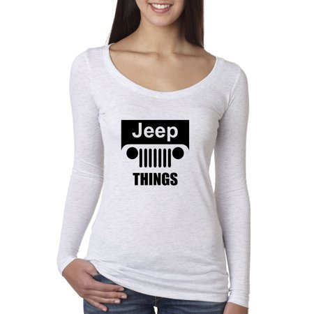 New Way 740 - Women's Long Sleeve T-Shirt Jeep Things Wrangler Grille Small (Thing 1 And Thing 2 Long Sleeve Onesies)