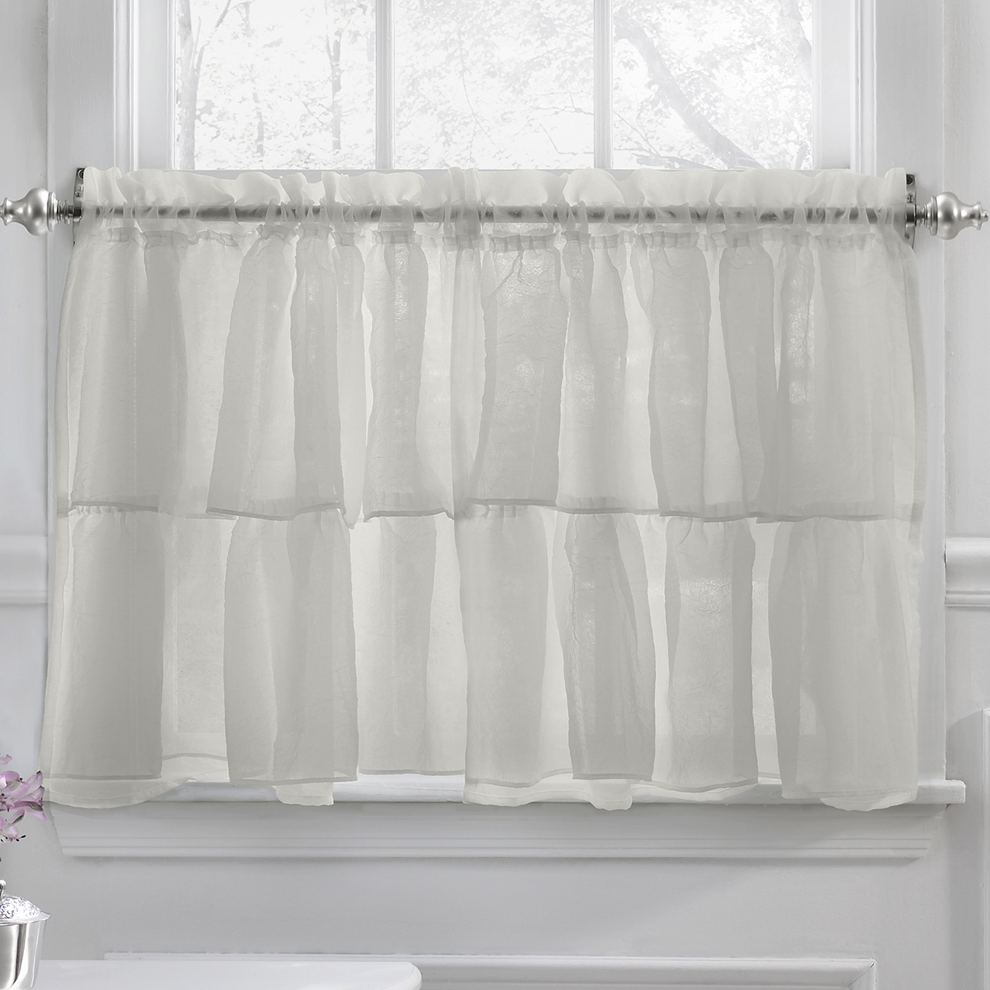 "Gypsy Crushed Voile Ruffle Kitchen Window Curtain 24"" Tier"