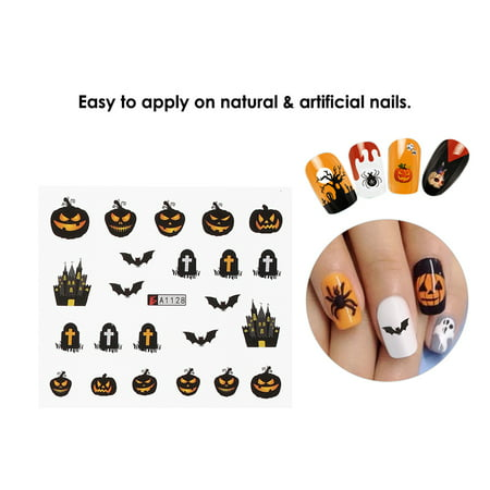 1pc/12sets Nail Manicure Decals Halloween Christmas Stickers Set Nail Art DIY Tools](Wah Nails Halloween)
