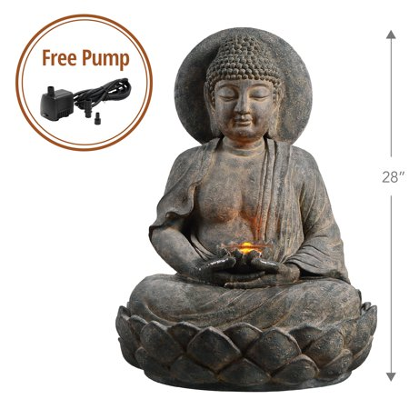 Peaktop - Outdoor Buddha Zen Fountain w/ LED Light ()