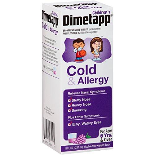 5 Pack Dimetapp Children's Cold & Allergy Grape Flavor 8 Oz Each