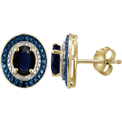 JewelersClub 3.00 Carat T.G.W. Sapphire Gemstone and Blue and White Diamond Accent Sterling Silver Earrings