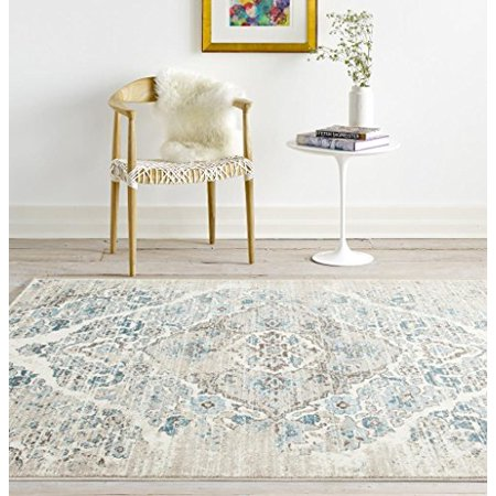 Persian Rugs 4620 Distressed Cream 5'2x7'2 Area Rug Large