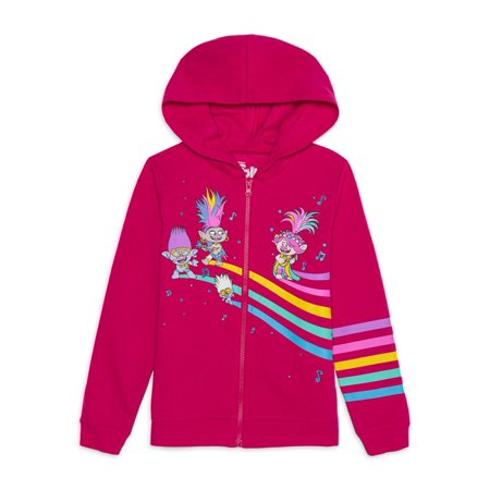 Universal Trolls Poppy Girls Glitter Rainbow Zip-Up Hoodie, Sizes 4-16