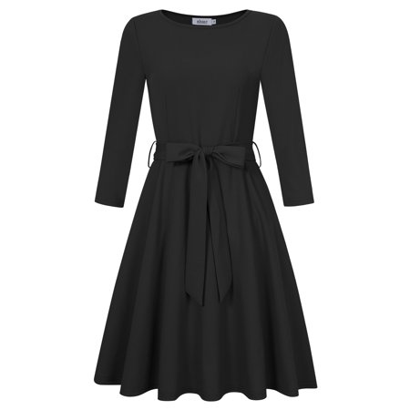 Women 3 4 Sleeve Slim Fit Cocktail Casual Swing Dress With Waistbrand Black S