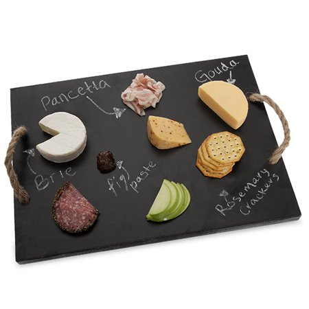 Rect Wooden Cheeseboard with Rope Handles 17in ()
