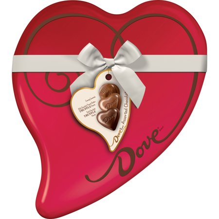 DOVE Valentines Assorted Chocolate Candy Heart Gift Box 9.82-Ounce Tin