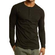Men's Henley 3-Button Pullover Cotton T-Shirt Long Sleeve Crew Neck