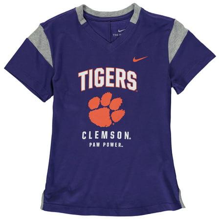 Clemson Tigers Nike Girls Youth Fan V-Neck T-Shirt - Purple (Nike Girls Clothing)