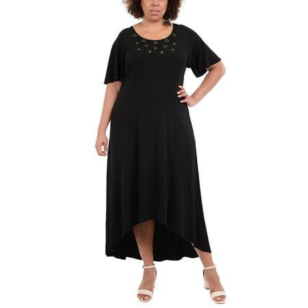 Plus Size Flutter Sleeve Hardware Trim Maxi Dress (Printed Flutter Sleeve Dress)